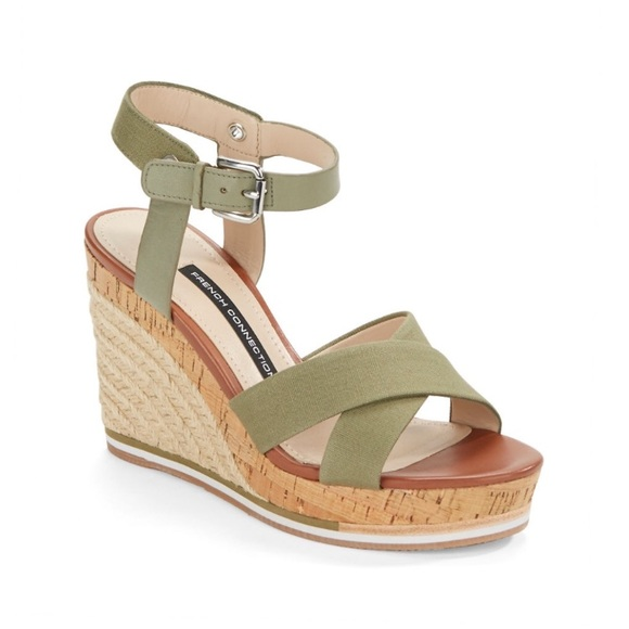 8ea53d4ced9 French Connection green cork Espadrilles wedges 10
